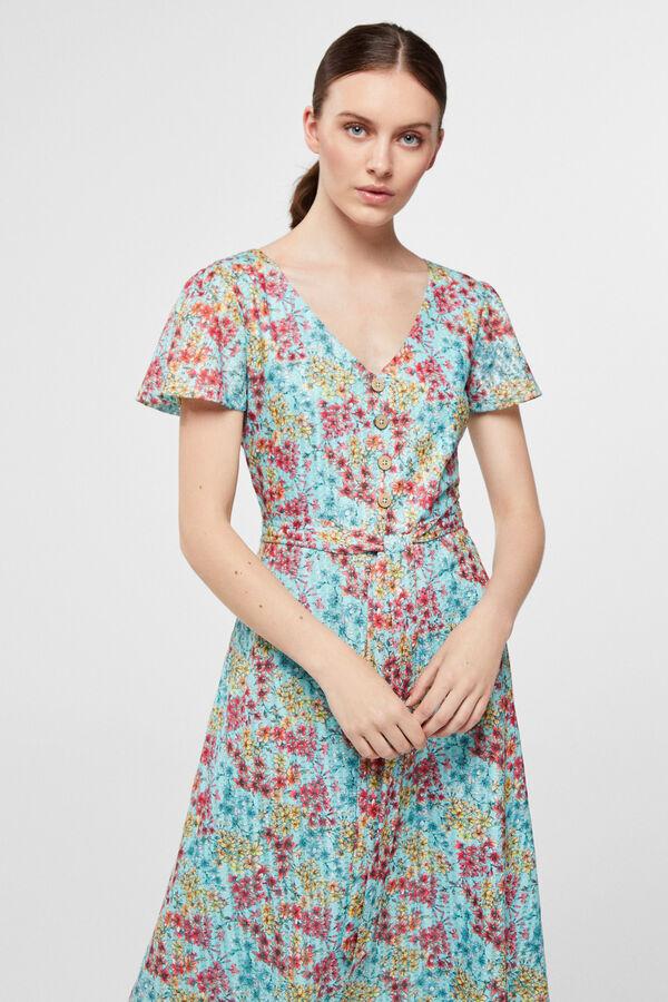 f4dfdfe26 Cortefiel Vestido lace botónes Azul