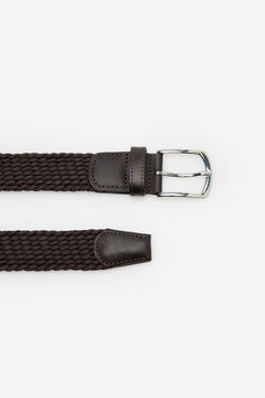 Cortefiel Woven fabric belt Dark brown