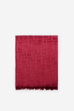 Cortefiel Logo jacquard scarf Plum