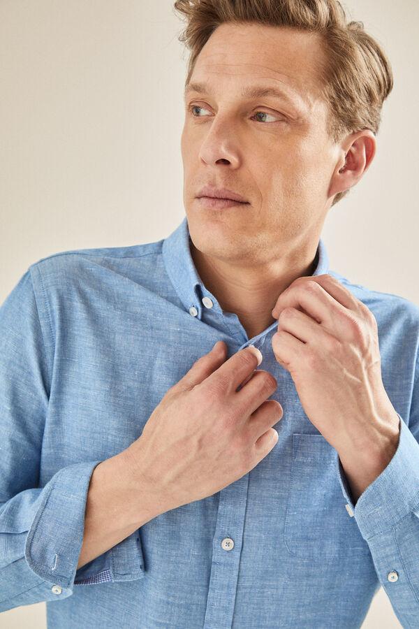 56ef7a81c5 Cortefiel Camisa lisa de lino algodón Azul