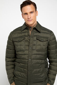 Cortefiel Ultralight quilted overshirt with Thermolite eco Green