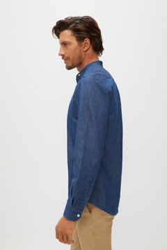Cortefiel Organic cotton denim mandarin collar shirt Royal blue