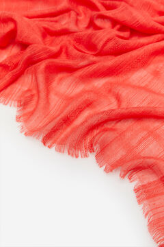Cortefiel Lurex stripe textured scarf Orange