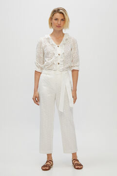 Cortefiel Broderie anglaise trousers with tie. White