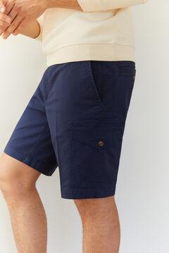 Cortefiel Organic cotton cargo style Bermuda shorts Navy