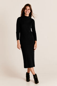 Cortefiel Long ribbed tricot dress Black