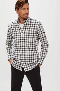 Cortefiel Extra soft checked organic cotton shirt Coral
