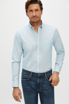 Cortefiel Plain extra soft end-on-end organic cotton shirt Blue