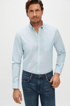 Cortefiel Plain extra soft end-on-end organic cotton shirt Blue
