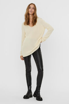 Cortefiel Knitted long-sleeved blouse Stone
