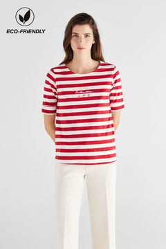 Cortefiel Organic cotton breton t-shirt Pink