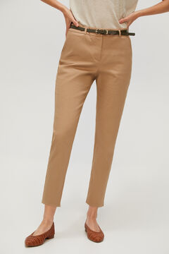 Cortefiel Cropped trousers with belt. Brown