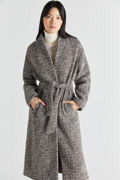Cortefiel Italian fabric belted coat Beige