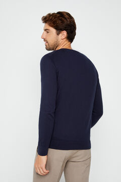 Cortefiel Organic cotton V-neck jumper Navy