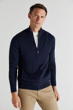 Cortefiel Cotton/cashmere zip-up cardigan Navy