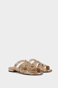 Cortefiel Flat metallic sandals  Beige