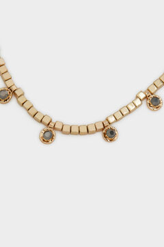 Cortefiel Short crystal necklace Beige