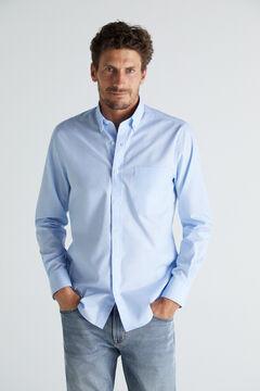 Cortefiel Plain extra soft cotton easy care shirt Blue