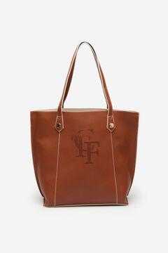 Cortefiel Cutwork logo shopper bag Tobaco