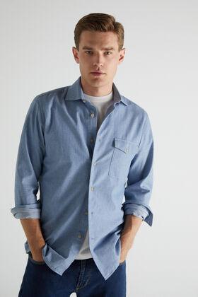 Cortefiel Plain textured organic cotton shirt Stone