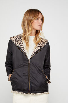Cortefiel Reversible faux fur jacket Ecru