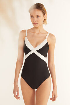 Cortefiel Black and white shaping swimsuit Black