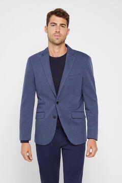 Cortefiel Textured jersey-knit blazer Turquoise