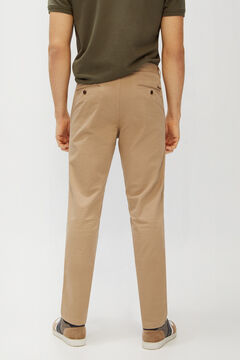 Cortefiel Essential micro print regular fit lightweight chinos Brown