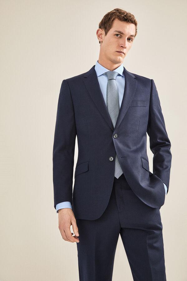 d522eb55ea5e7 Cortefiel Americana traje marino slim fit Azul