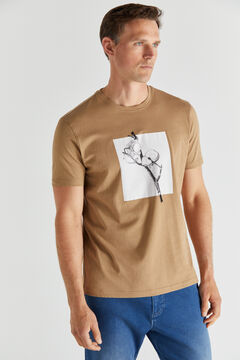 Cortefiel Short-sleeved graphic T-shirt Camel