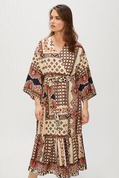 Cortefiel Long fluid dress Ecru