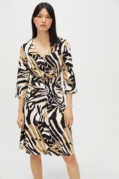 Cortefiel Printed V-neck dress Ecru