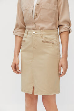 Cortefiel Satin fabric midi skirt Vanilla