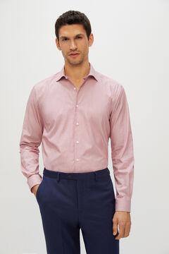 Cortefiel Camisa de vestir lisa tailored fit Rojo