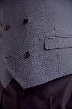 Pedro del Hierro Tailored fit birdseye waistcoat Blue