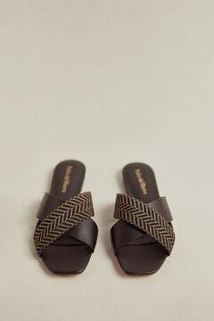 Pedro del Hierro Nappa leather sandal Black