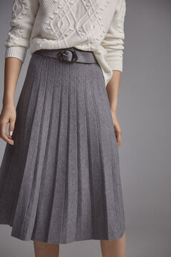 Pedro del Hierro Pleated skirt with belt Grey