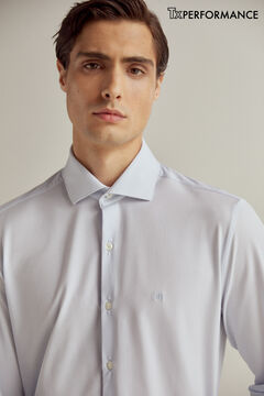 Pedro del Hierro Camisa de vestir lisa slim tejido técnico Azul