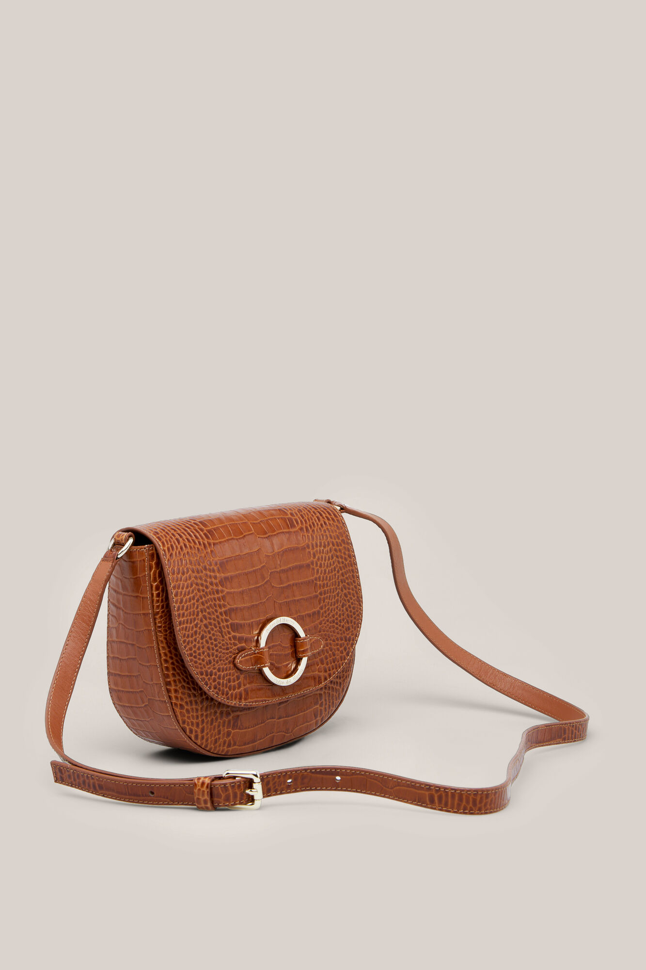 Crocodile Effect Leather Crossbody Bag Handbags Cortefiel Man Woman