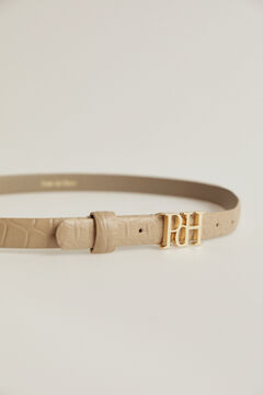 Pedro del Hierro Crocodile engraved belt with PdH logo Beige