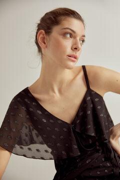 Pedro del Hierro Asymmetric dress with lurex Black