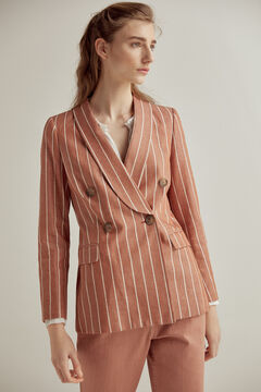 Pedro del Hierro Organic revolution striped blazer Red