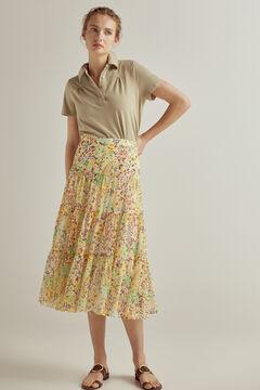 Pedro del Hierro Printed midi skirt Yellow
