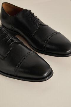 Pedro del Hierro Sapato pele cordões e sola couro Preto