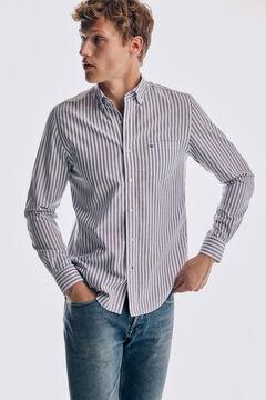Pedro del Hierro Striped Tech Non-Iron cotton shirt Blue