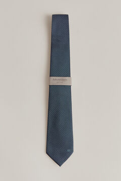Pedro del Hierro Leaf print tie Blue