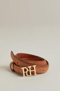 Pedro del Hierro Cinturón fino en piel anteada con logo PdH Beige