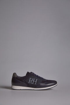 Pedro del Hierro Leather and nylon icon sneaker          Blue