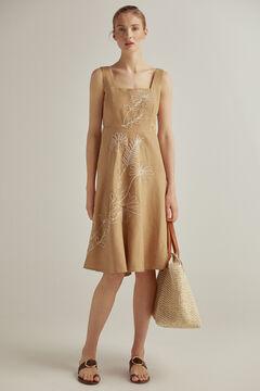 Pedro del Hierro Embroidered linen dress Brown