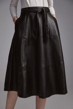 Pedro del Hierro Faux leather midi skirt Black